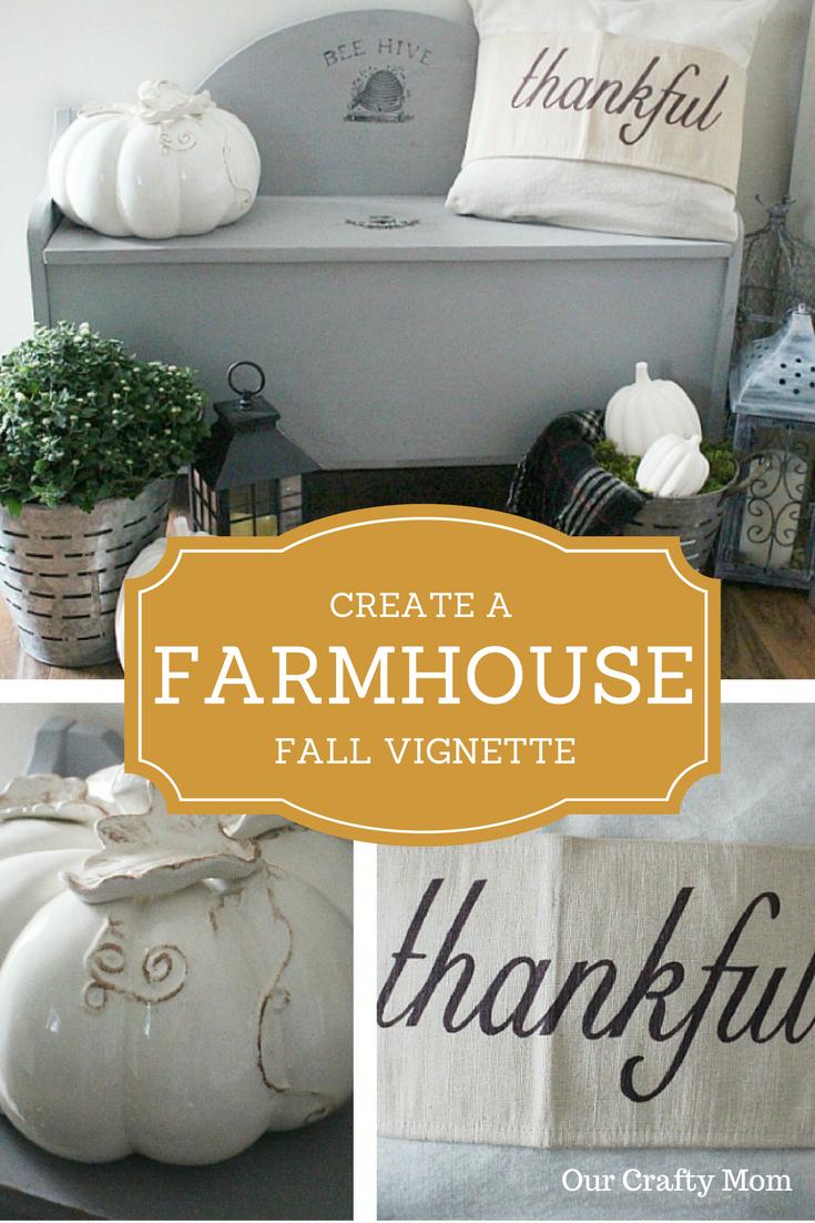 Create A Farmhouse Fall Vignette | Our Crafty Mom