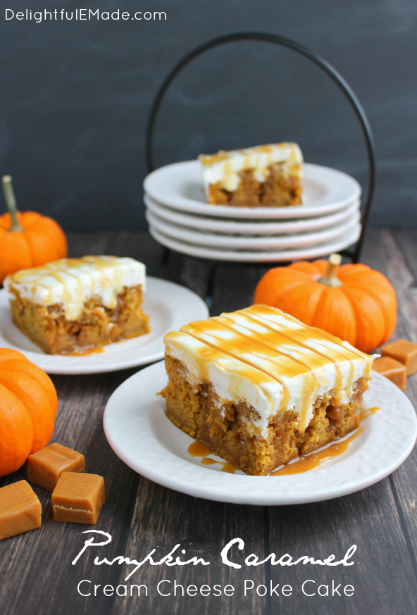 Pumpkin Caramel Cream Cheese Poke Cake | Delightful E Made
