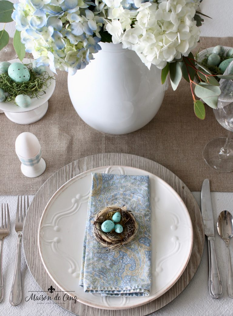 Spring Tablescapes Featuring Hydrangeas and Shades of Blue | Maison De Cinq