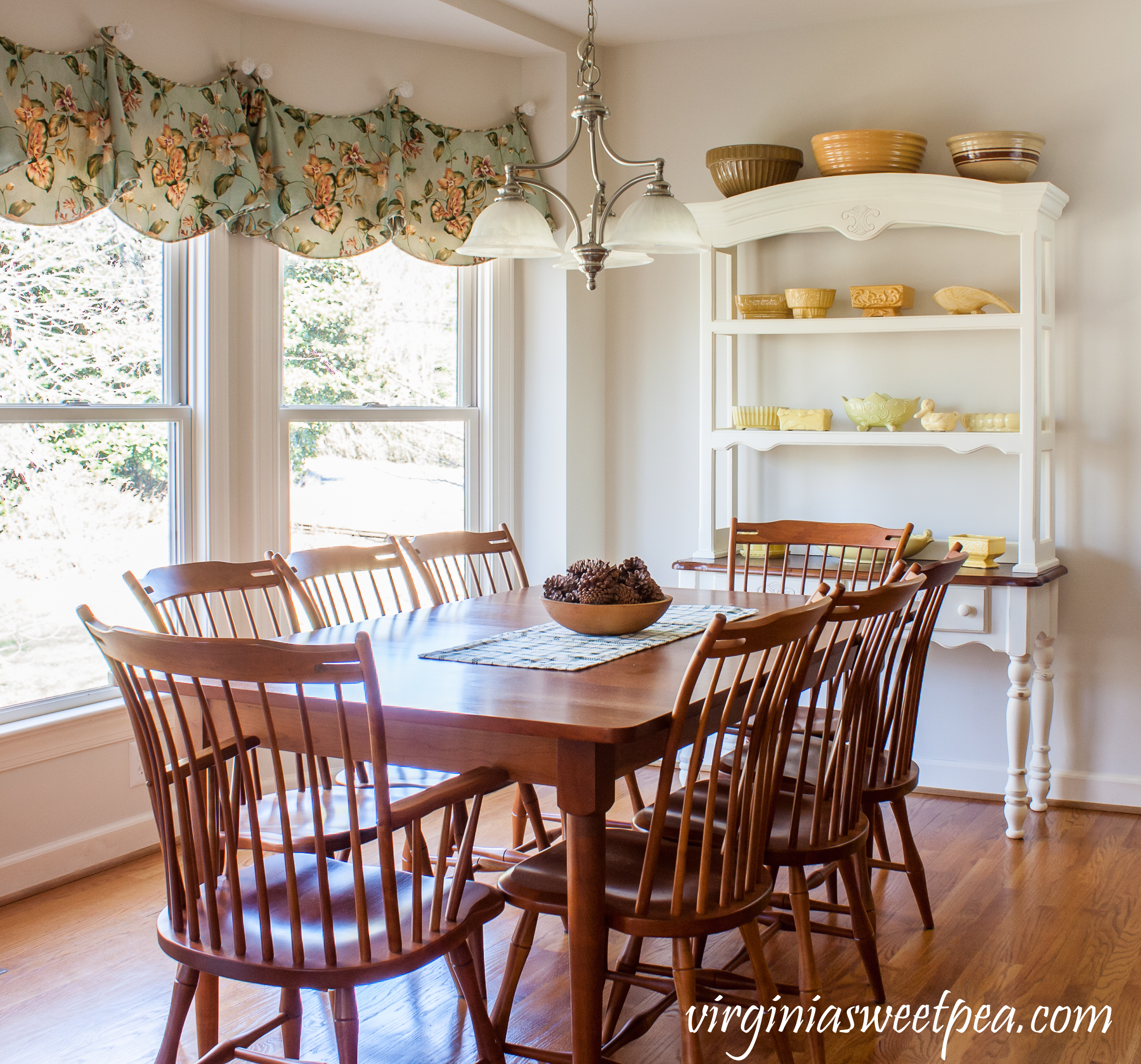 Farmhouse Hutch With Vintage Yellow Pottery | Virginia Sweet Pea