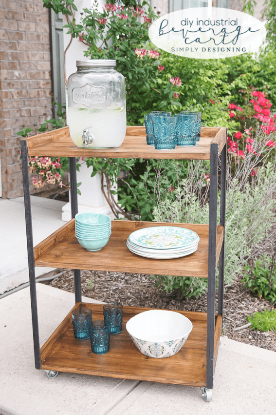 DIY Industrial Beverage Cart | Simply Designing